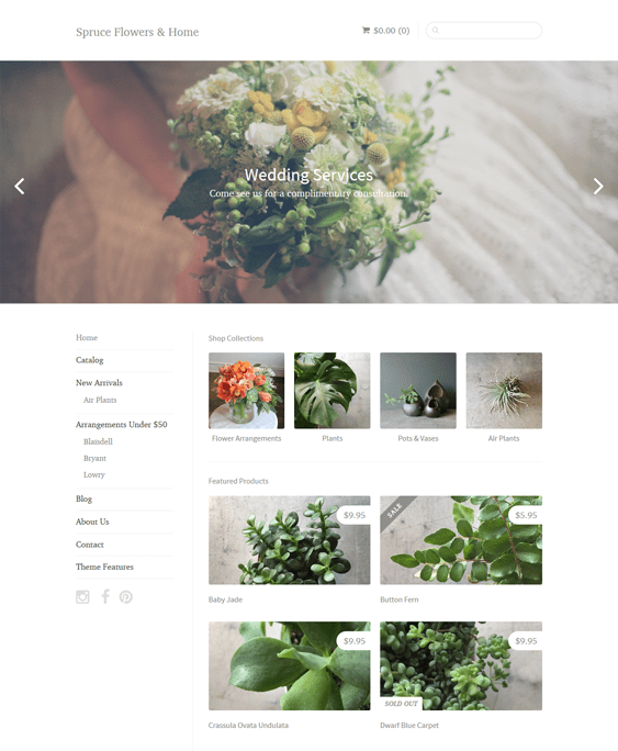 sugarlight florists plant stores shopify themes