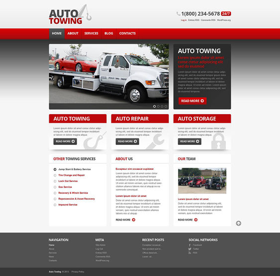 auto towing car mechanic repair shop wordpress themes