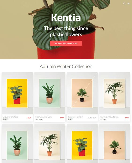 kentia shopify themes art stores