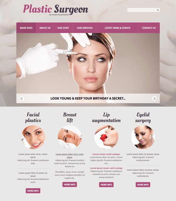 plastic surgery medical joomla templates