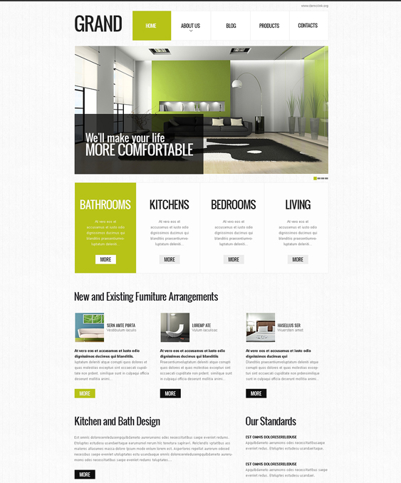 5 of the best interior design drupal themes down for Drupal 404 template