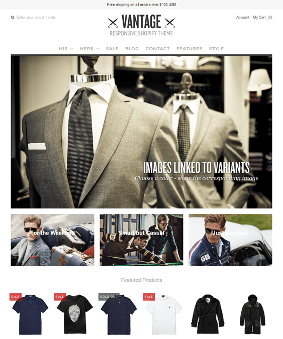 vantage mono shopify themes clothing stores