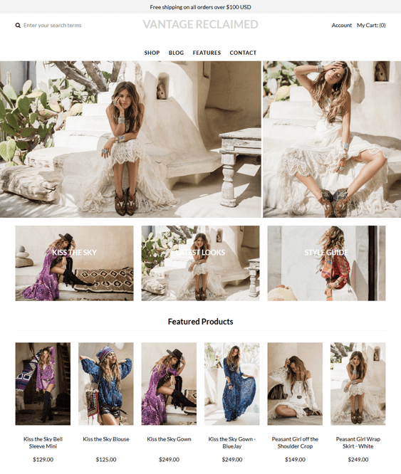 vantage reclaimed shopify themes clothing stores