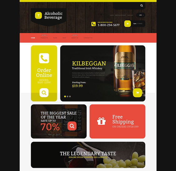 alcoholic food drink shopify themes