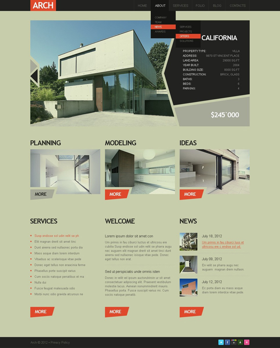 construction contractor drupal themes company