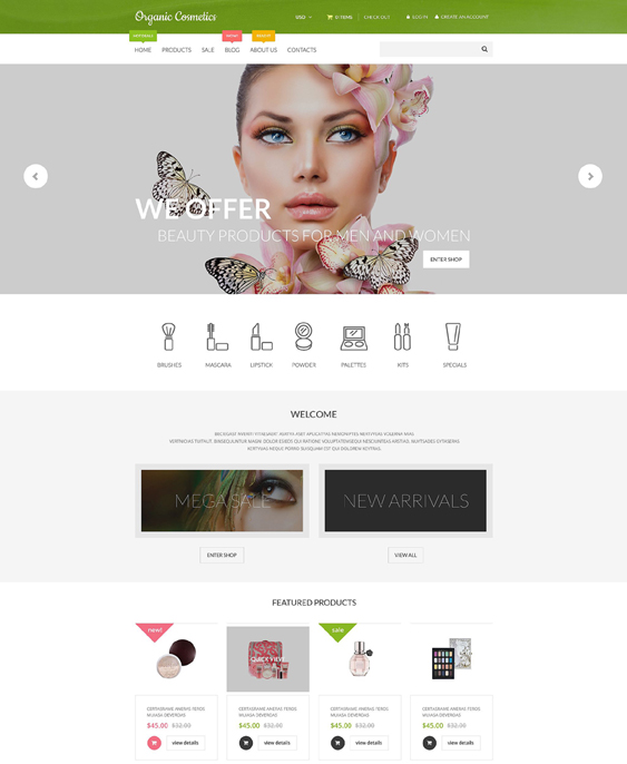 organic cosmetics beauty products shopify themes