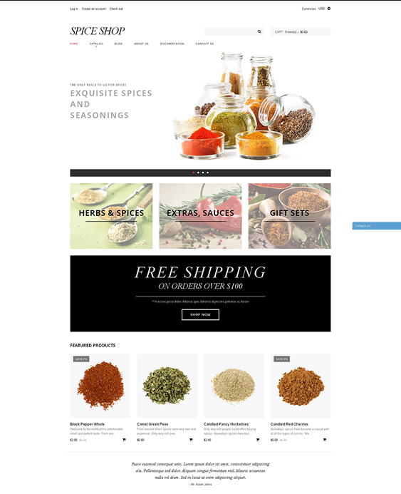 shopify themes spice shops