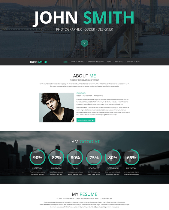 online resume cv wordpress themes