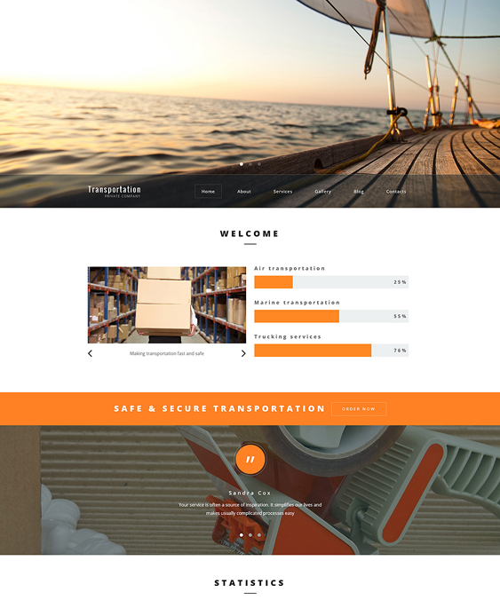 transportation parallax wordpress themes