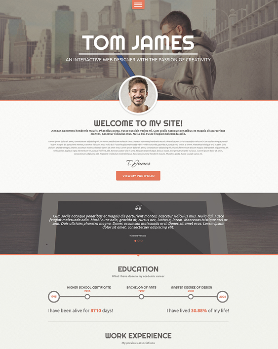 web designer resume cv wordpress themes