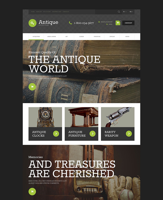 antique store dark opencart themes