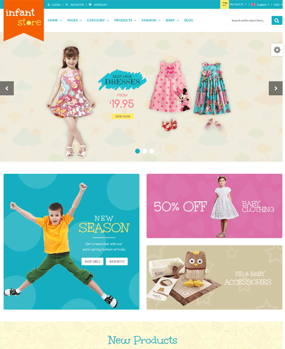 baby clothes kids magento themes