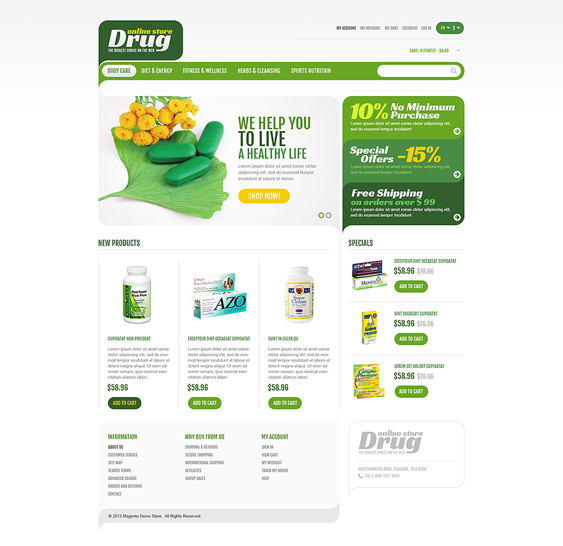 drug store1 medical magento themes