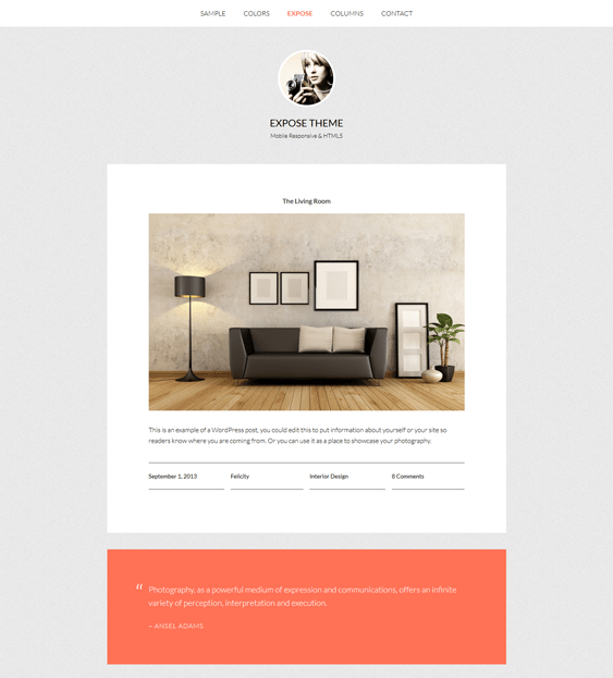 expose interior design wordpress themes