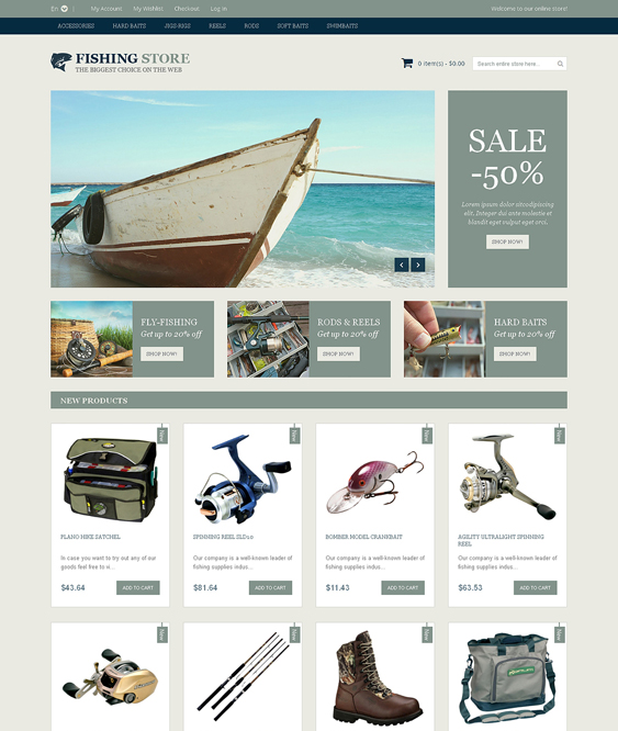 fishing sports fitness magento themes 1