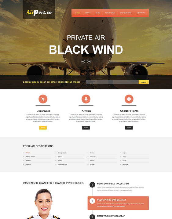 flying transportation drupal themes