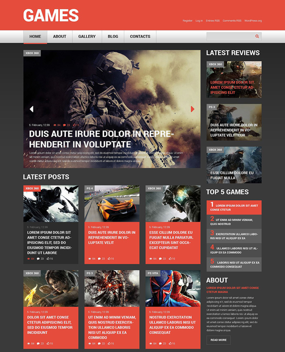 game dark wordpress themes