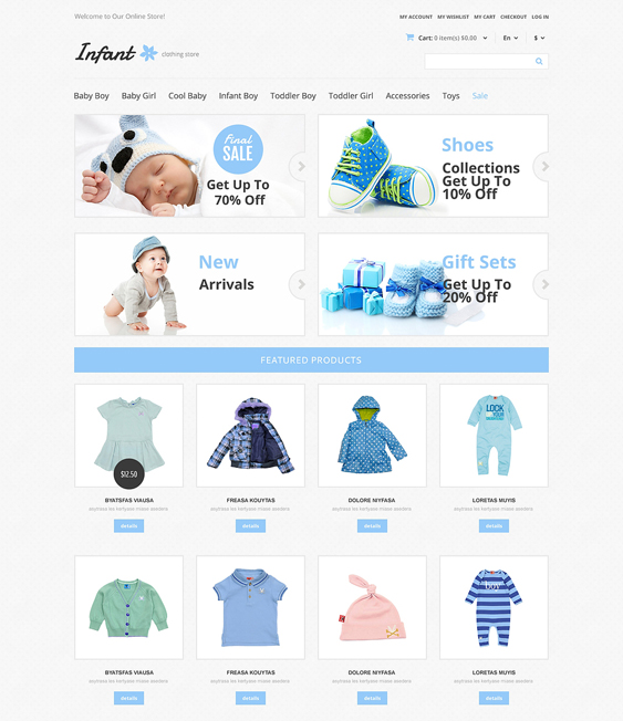 infant kids magento themes