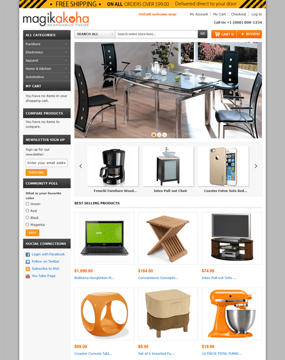 magik akoha furniture magento themes