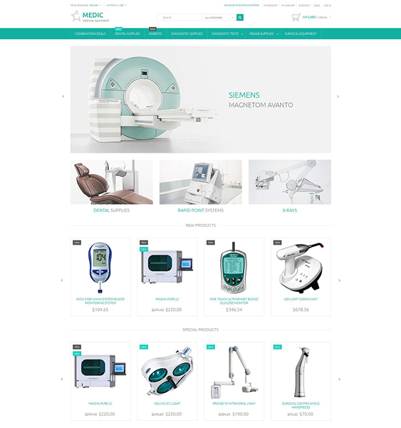 medical magento themes equipment