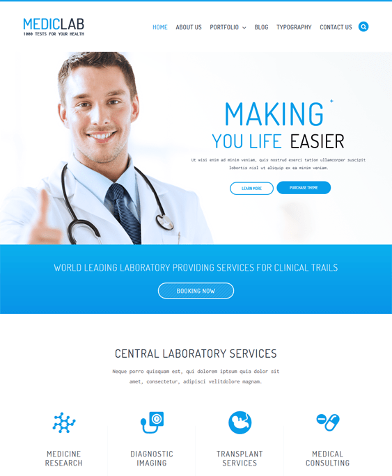 mediclab medical wordpress themes