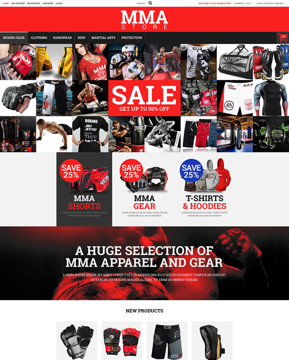 mma sports fitness magento themes