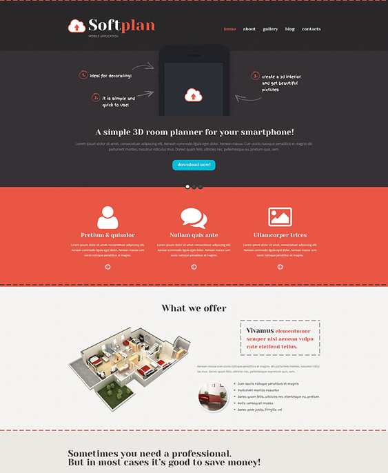 mobile wordpress themes promoting apps