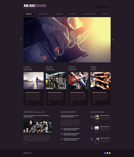 music band dark wordpress themes