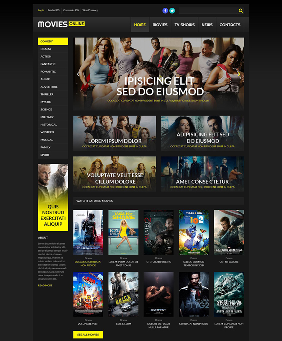 online cinema dark wordpress themes