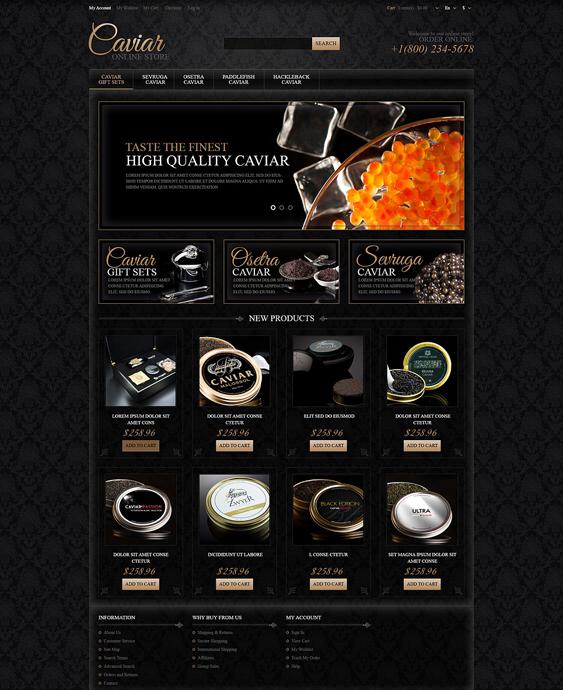 responsive caviar dark magento themes