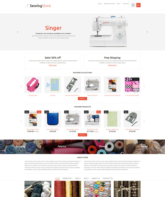sewing clean shopify themes