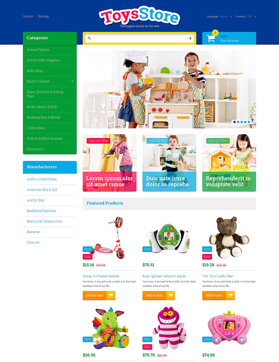toys kids prestashop themes