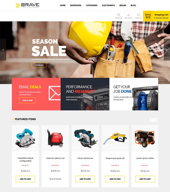 ves brave hardware home improvement magento themes