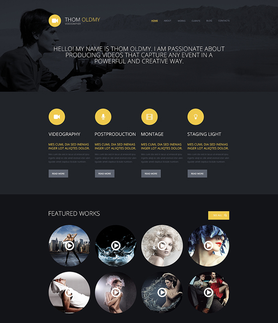 videographer dark wordpress themes