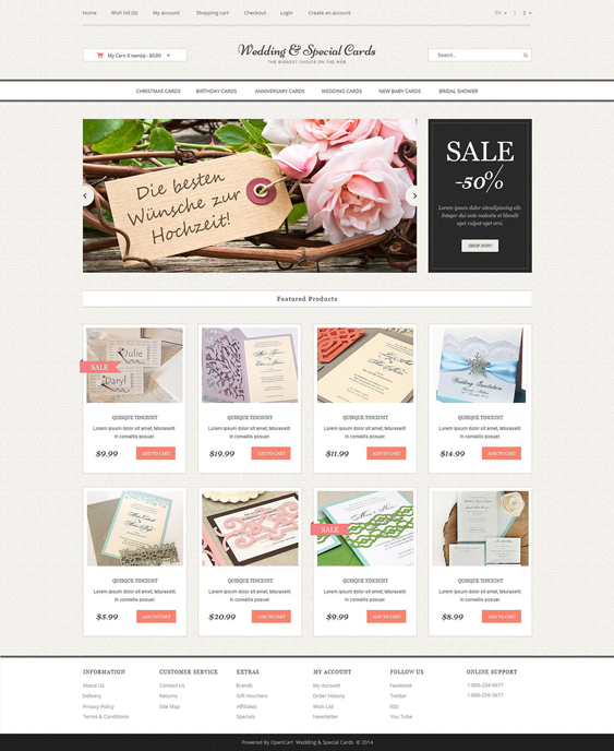 wedding opencart themes cards