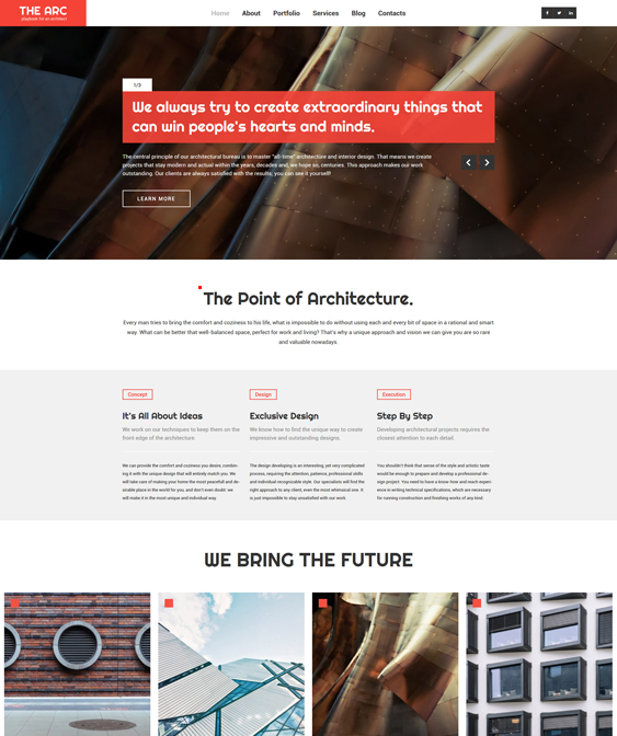 architecture parallax wordpress themes