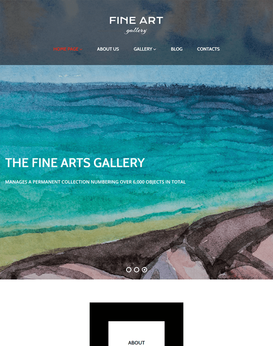art gallery parallax wordpress themes
