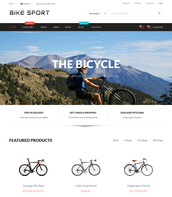 bike hikashop themes