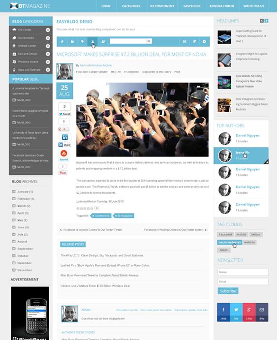 bt news magazine joomla templates
