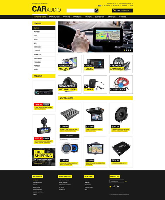 car magento themes electronic stores