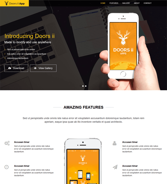 doors wordpress themes promoting apps