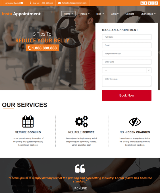 instappointment fitness gym wordpress themes