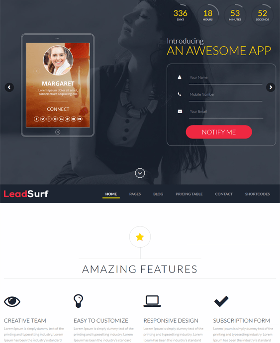 leadsurf wordpress themes promoting apps