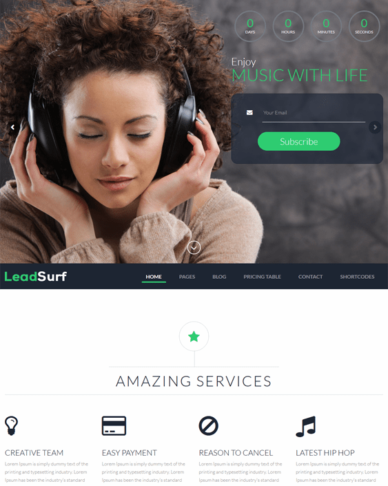leadsurf landing page wordpress themes music