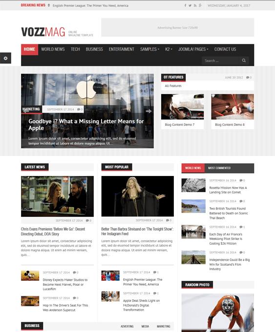 30+ of the Best News & Magazine Joomla Templates – <br />down