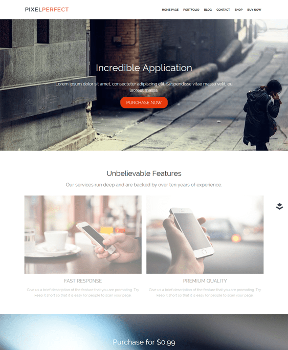 pixelperfect wordpress themes promoting apps