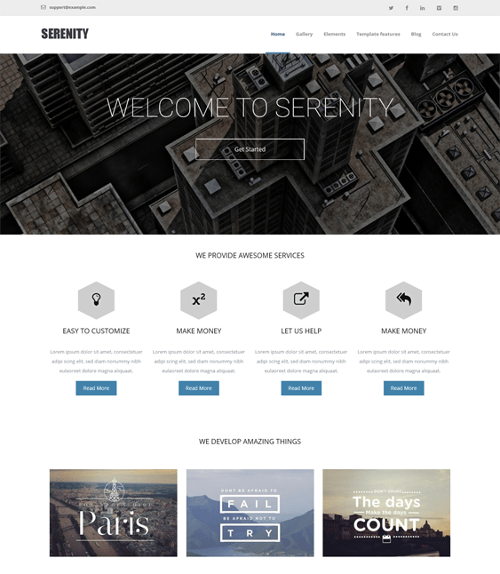 serenity clean drupal themes