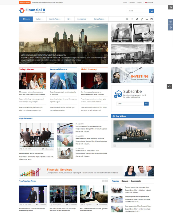 sj financial news magazine joomla templates