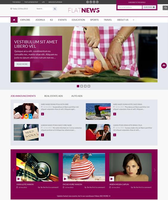 sj flat news magazine joomla templates