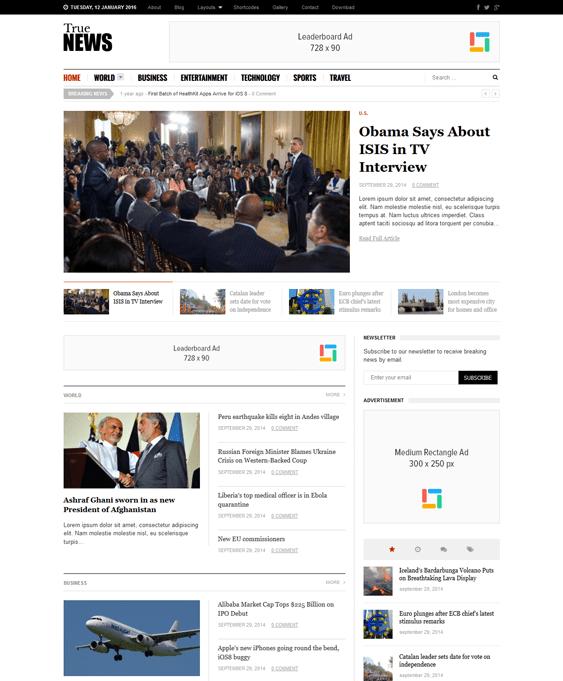 truenews news magazine wordpress themes